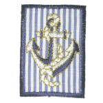 Iron On Patch Applique -  Oblong Nautical Stripes Patch Anchor