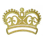 Iron On Patch Applique - Crown Metallic Gold