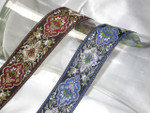 """Jacquard Ribbon 1 3/8"""" Metallic Renaissance Style *Colors*"""