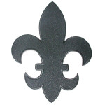 "Iron On Patch Applique - Fleur De Lys Black  5 7/8"" tall"