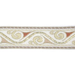 "Jacquard Ribbon 1 1/8"" Beige Met Gold Medieval Style"