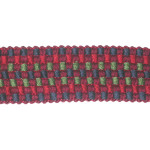 "Braid 1 7/16"" Fancy Woven Red Green Wine & Blue Priced Per Yard"