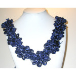 Floral Yoke - Navy Satin Ribbon Floral 11""