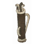Iron On Patch Applique -  Beige Golf Bag and Clubs