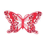 """Iron On Patch Applique - Sequin Butterfly 3 7/8"""" Red"""