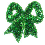 Sequin Applique - Bow Emerald