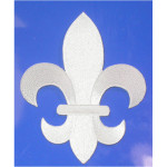 "Iron On Patch Applique - Fleur De Lis White  5 7/8"" tall"