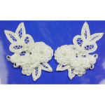 Beaded Fleurette Applique Pair Left and Right White