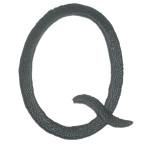 Iron On Patch Applique - Script Letter Black Q