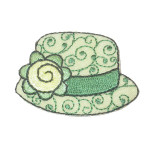 Iron On Patch Applique - Ladies Hat Green