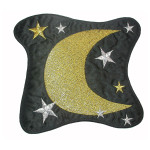 Iron On Patch Applique - Moon Stars Patch Black 6 1/2""