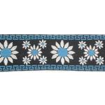 "Jacquard Ribbon 2 1/4"" Daisys Blue Per Yard"