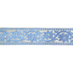 "Jacquard Ribbon 1 1/2"" Blue & Metallic Silver Floral 3 Yards"