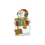 Iron On Patch Applique - Snowman with Shovel