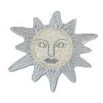 Iron On Patch Applique - Silver Sun