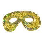 Iron On Patch Applique - Sequin Mardi Gras Mask Gold
