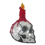 Iron On Patch Applique - Skull with Candle Silver