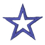 """Iron On Patch Applique - Open Star 1 1/2"""" Royal"""