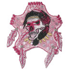 Iron On Patch Applique - Skull with Feather Pink