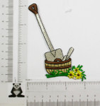 Iron On Patch Applique - Shovel and Basket with Flowers