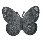 "Iron On Patch Applique - Butterfly 2 1/2"" Black and Gray"
