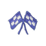 Iron On Patch Applique - Blue Crossed Racing Flags