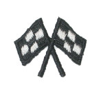 Iron On Patch Applique - Black Crossed Racing Flags