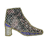 Iron On Patch Applique - Faux Snakeskin Boot