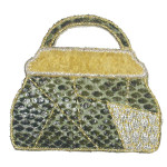 Iron On Patch Applique - Faux Snakeskin Bag Yellow Trim