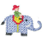 Iron On Patch Applique - Elephant with Rider