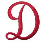 Iron On Patch Applique - Script Red Letter D