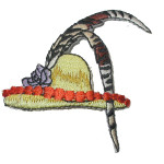 Iron On Patch Applique - Hat with Feather