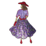 Iron On Patch Applique - Lady with Red Hat - Paisley