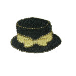Iron On Patch Applique - Black Hat Gold Bow