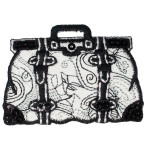 Iron On Patch Applique - Black and White Sequin Handbag.