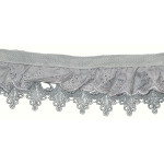 "Gathered Venise Lace & Eyelet 2 3/4"" Gray Per Yard"