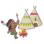 Iron On Patch Applique - Boy and Teepee