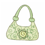 Iron On Patch Applique - Green Handbag