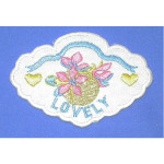"Iron On Patch Applique - ""LOVELY"" Flower Patch White"