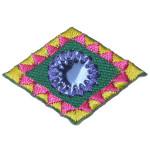 Iron On Patch Applique - Decorative Mirrored Diamond Blue