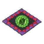 Iron On Patch Applique - Decorative Mirrored Diamond Green