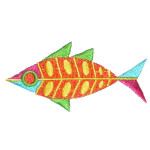 Iron On Patch Applique - Abstract Fish a