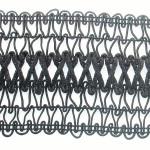 "Braid 2 3/4"" Black with Criss Cross Rat Tail Design"