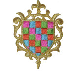 Iron On Patch Applique - Crest Multi Checkered.