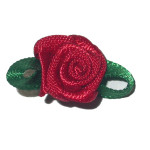 Mini Satin Ribbon Roses Forest Green Leaf TRUE RED 25 Pack