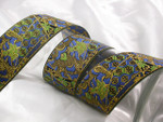 "Jacquard Ribbon 2"" Blue Green Gold Per Yard"