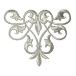 Iron On Patch Applique - Decorative Swirl Metallic Silver