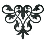 Iron On Patch Applique - Decorative Swirl Black