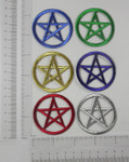 Iron On Patch Applique - Pentagram Pentacle in Metallic