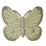 Iron On Patch Applique - Butterfly with Silver Edged Wing GREEN